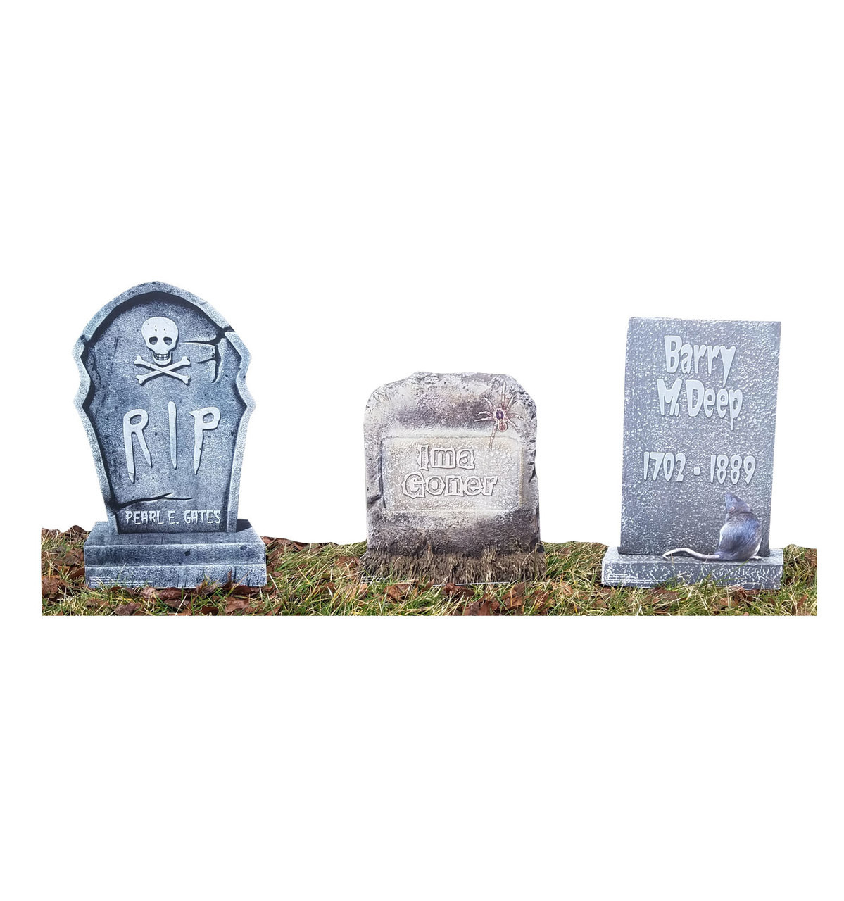 Life-size Tombstone Yard Signs - 3 Pack Cardboard Standup 3