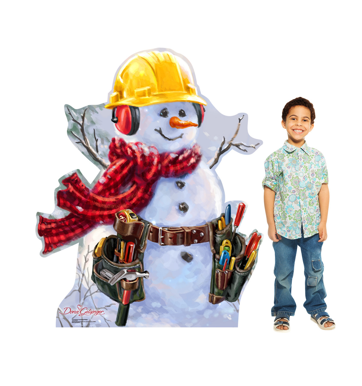 Snowman Construction Worker Cardboard Cutout - Dona Gelsinger -  2113