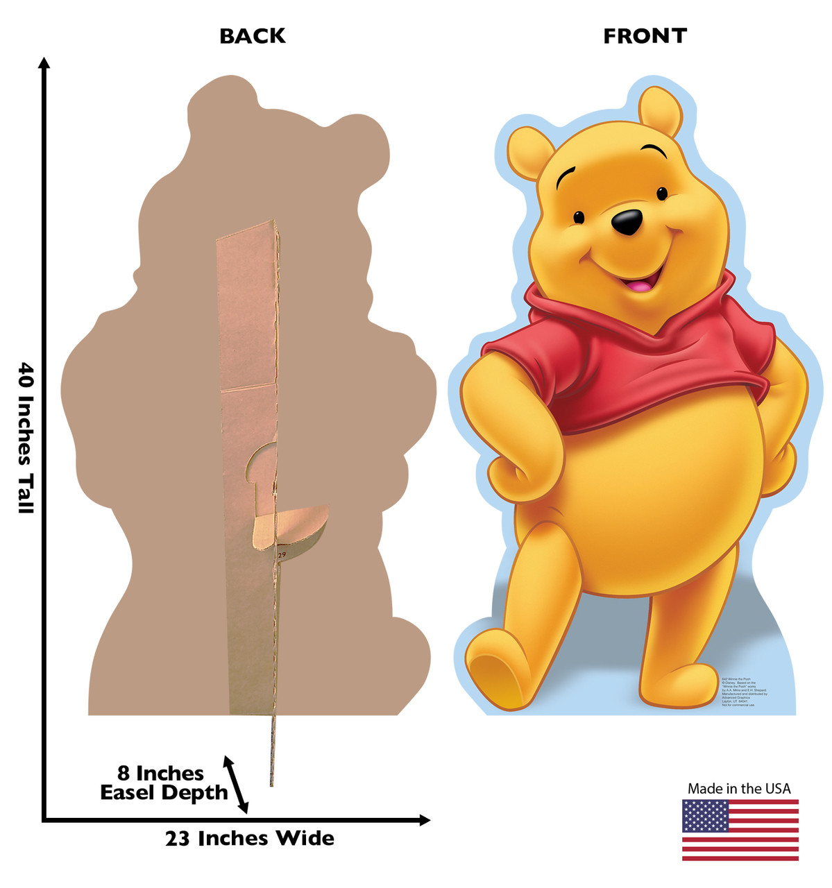 Life-size cardboard standee of Winnie the Pooh with front and back dimensions.