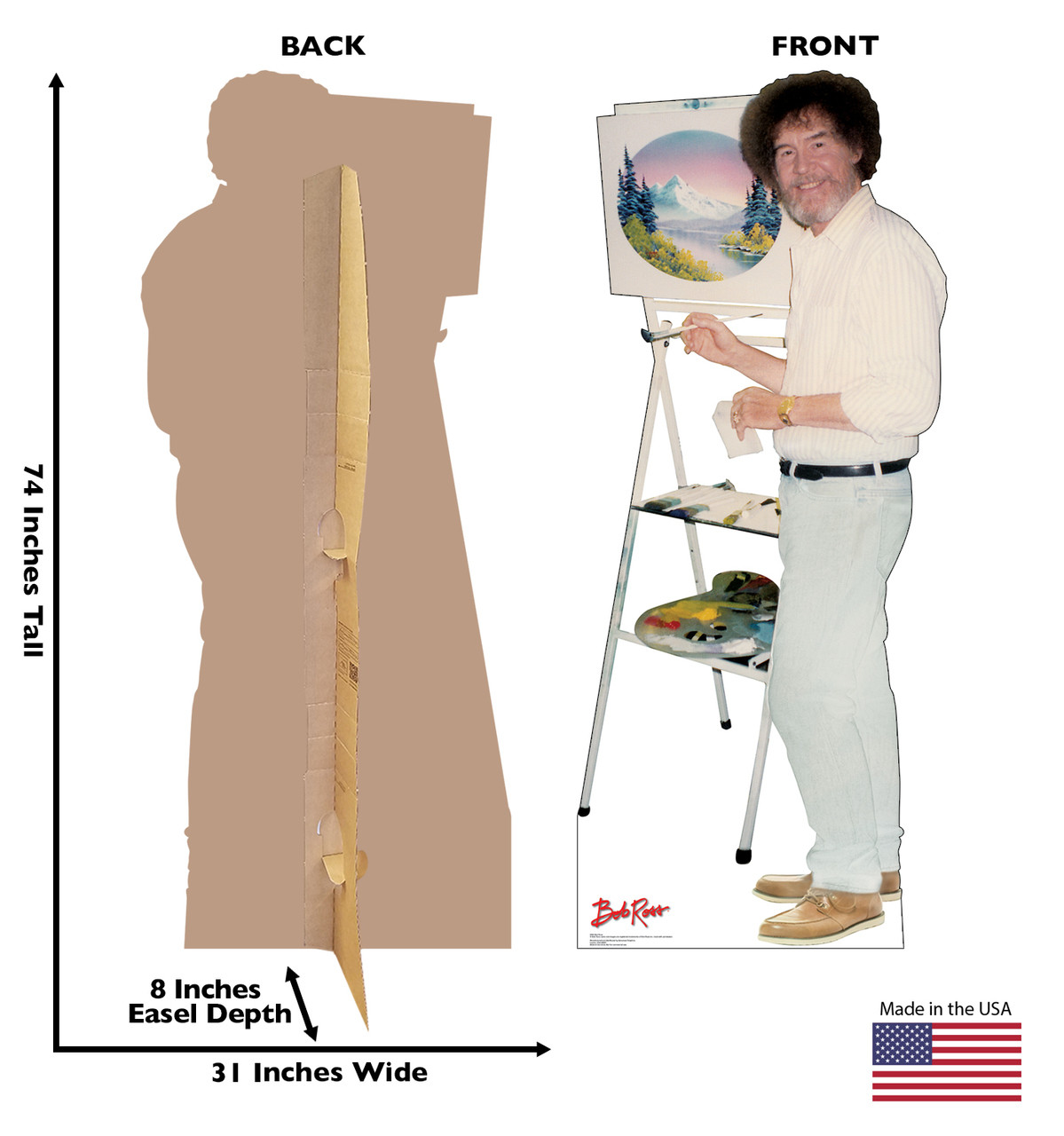 Life-size Bob Ross Cardboard Standup front and back view