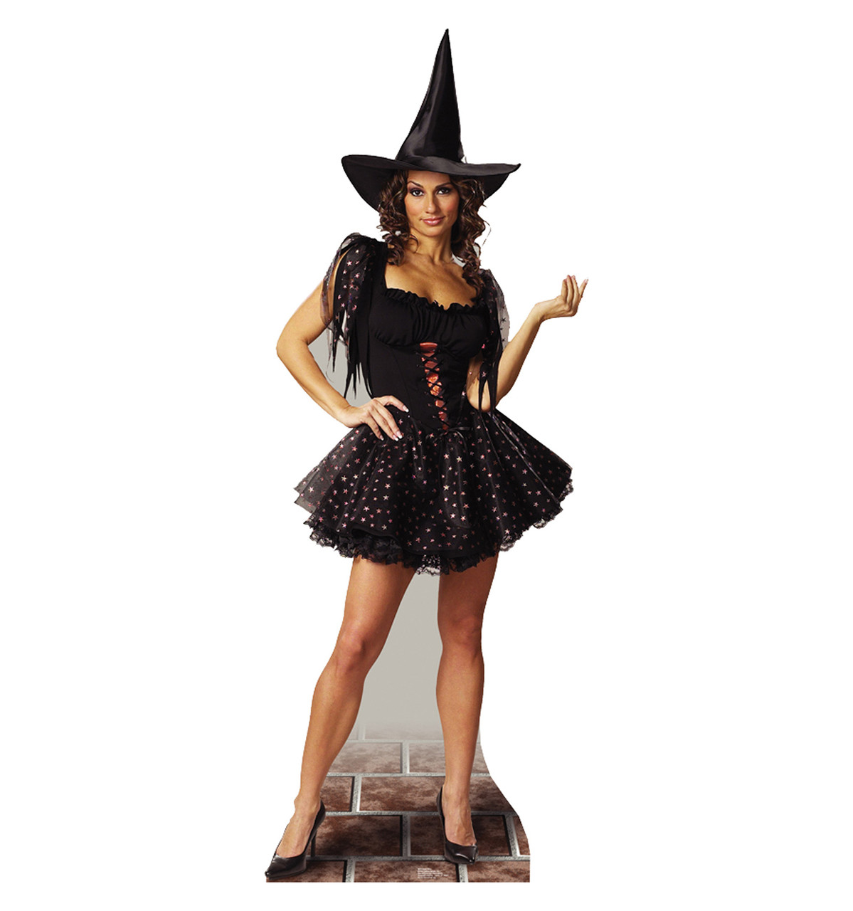 Life-size Glitter Witch Cardboard Standup