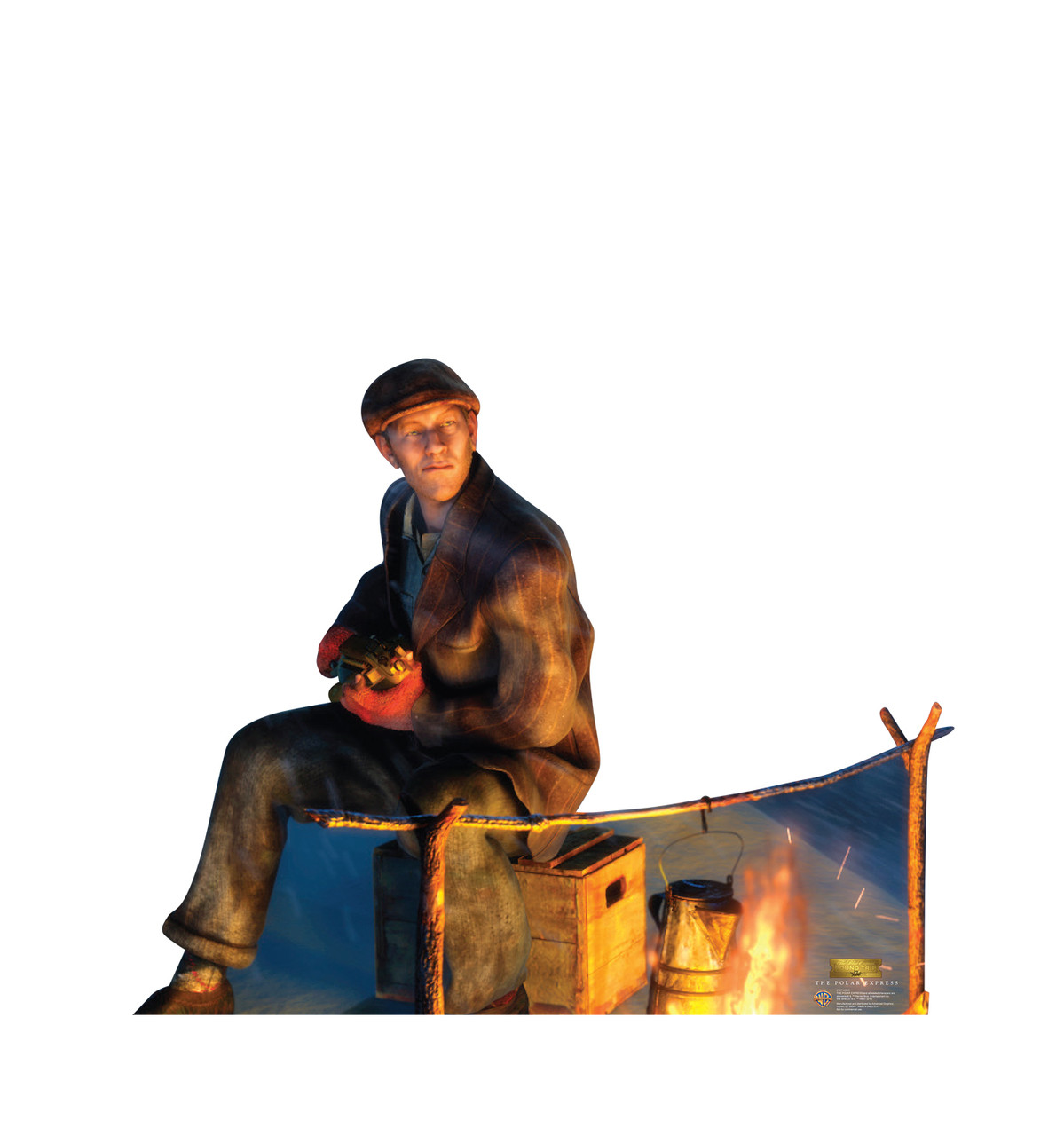 Life-size cardboard standee of the Hobo from The Polar Express.