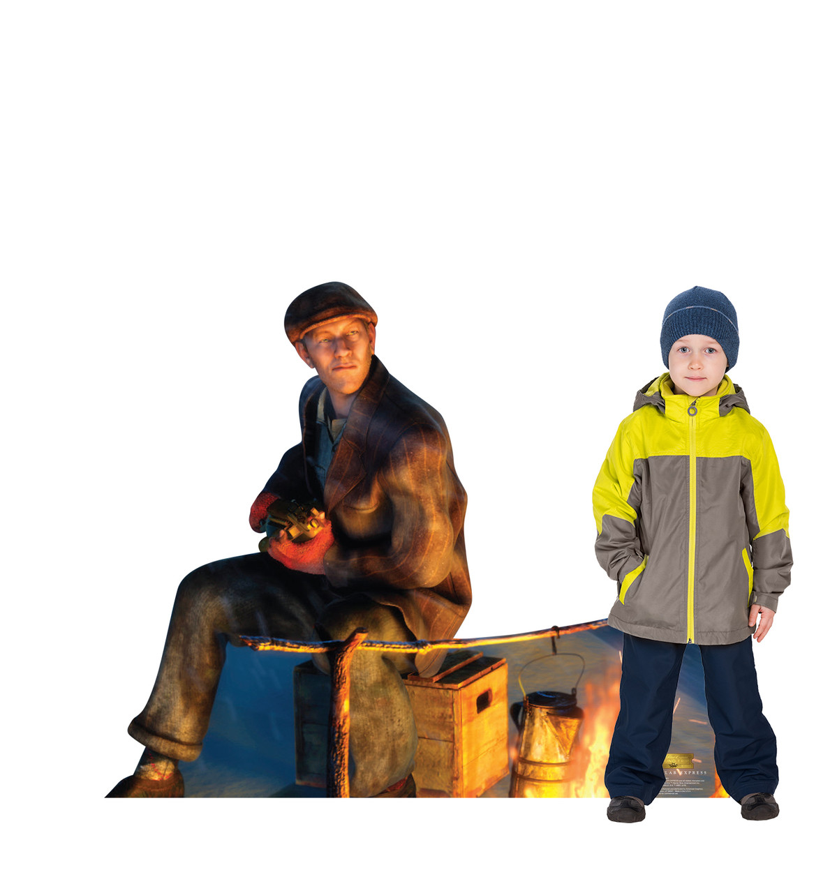 Life-size cardboard standee of the Hobo from The Polar Express with model.