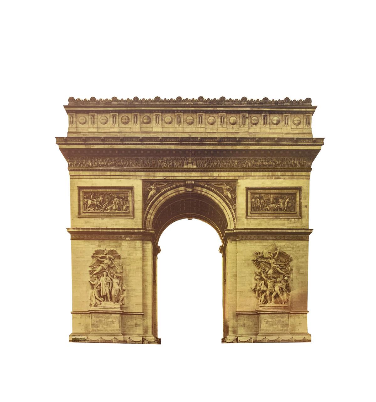 Cardboard standee of the Paris Arc de Triomphe.