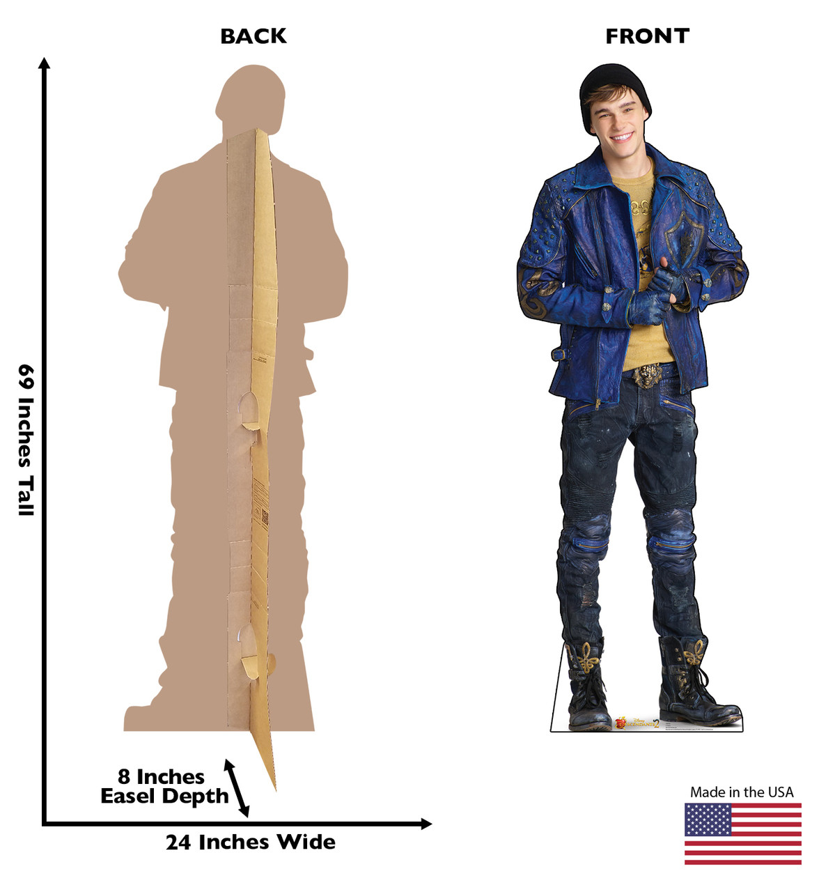 Life-size Ben (Descendants 2) Cardboard Standup with back and front dimensions