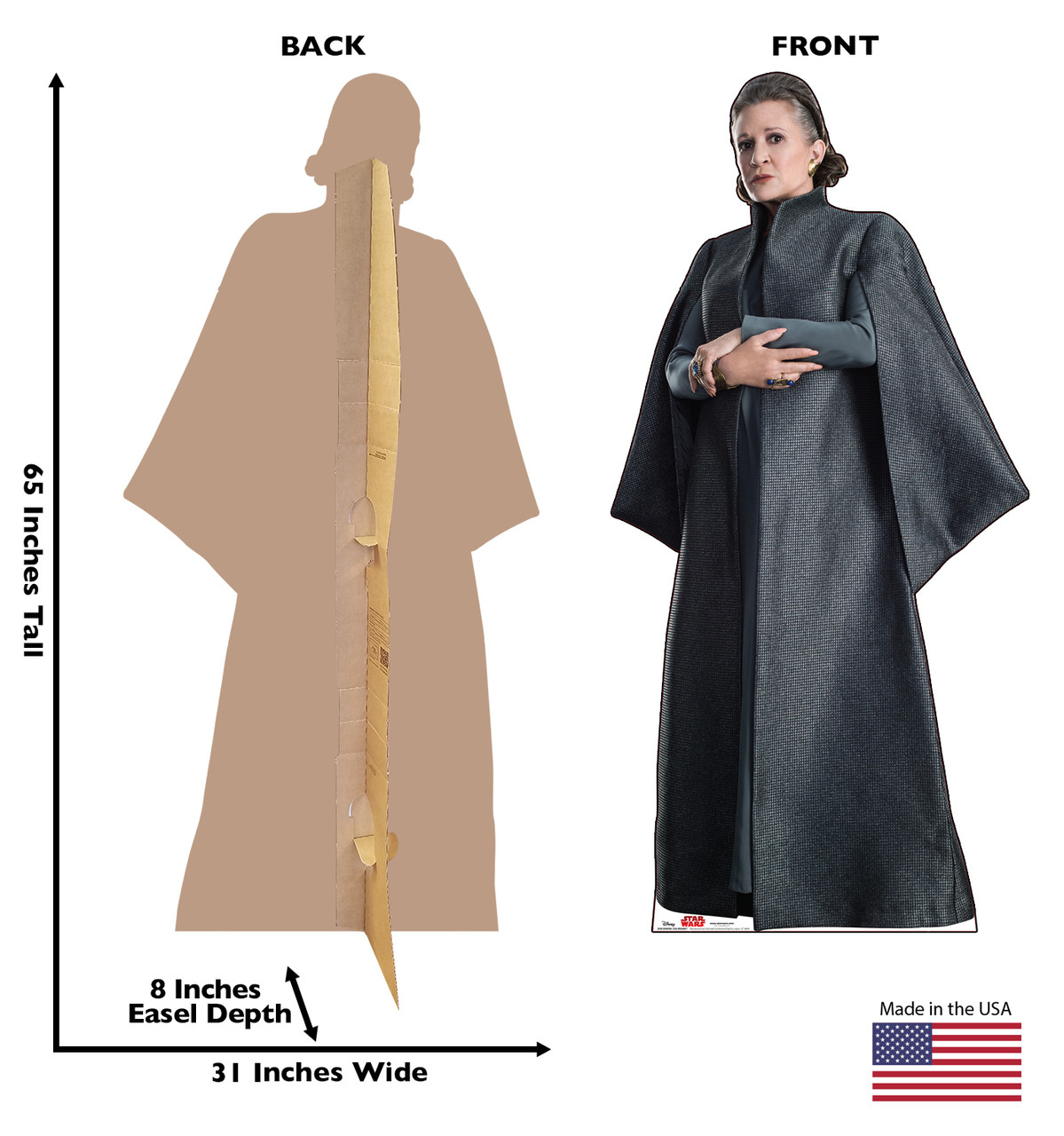 General Leia Organa - Star Wars: The Last Jedi Life-Size Cardboard Cutout 3 with back and front dimensions