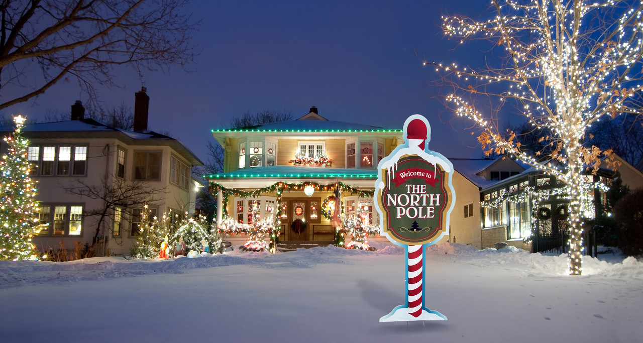 North Pole Yard Sign Outdoor