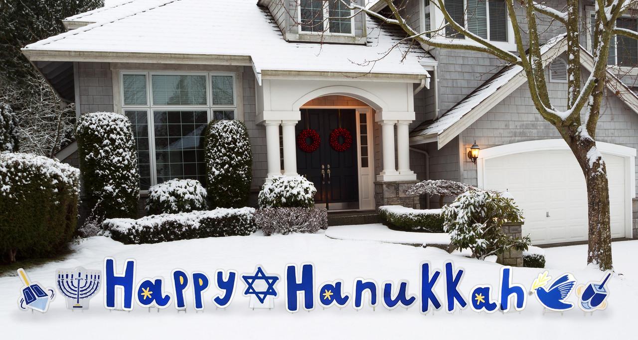 Happy Hanukkah Yard Sign Outdoor   Cardboard Cutout