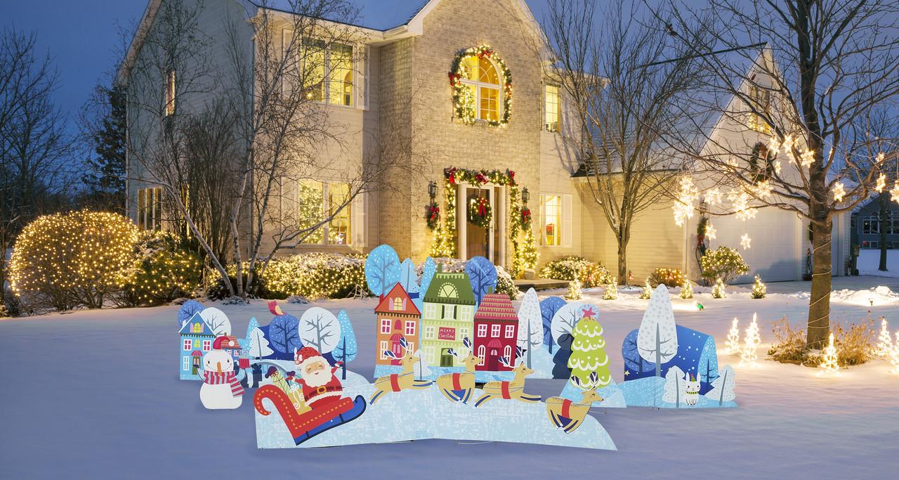 Christmas Village Yard Signs Outdoor | Cardboard Cutout