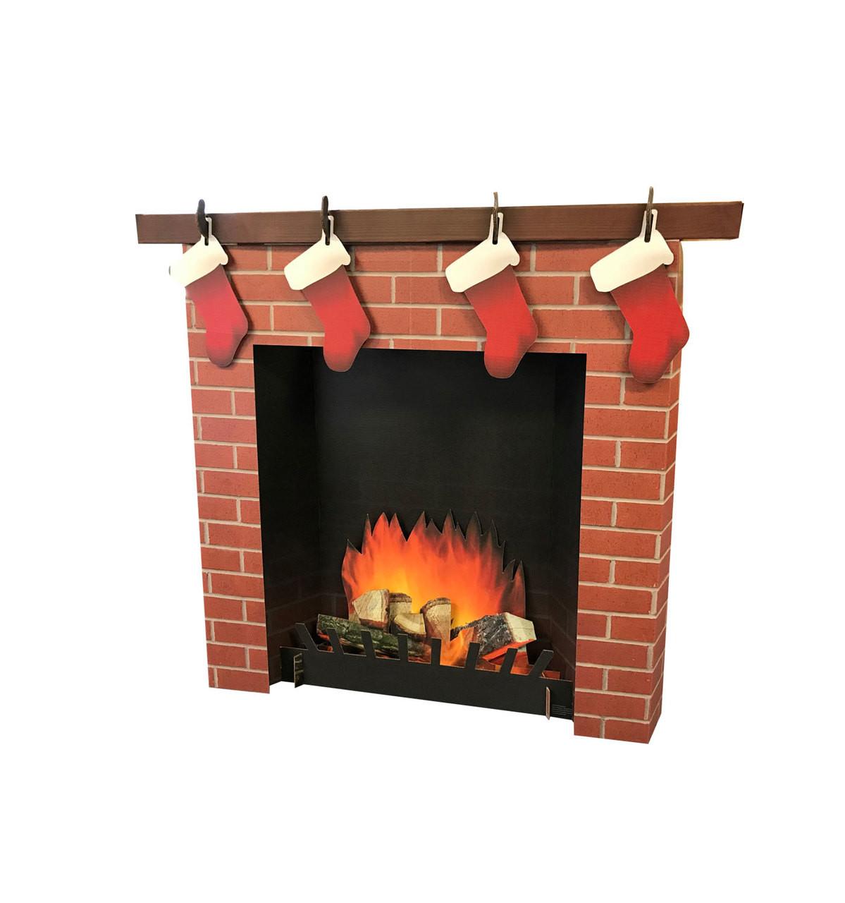 3D Brick Fireplace Life-Size Cardboard Cutout | Chirstmas Decor 1