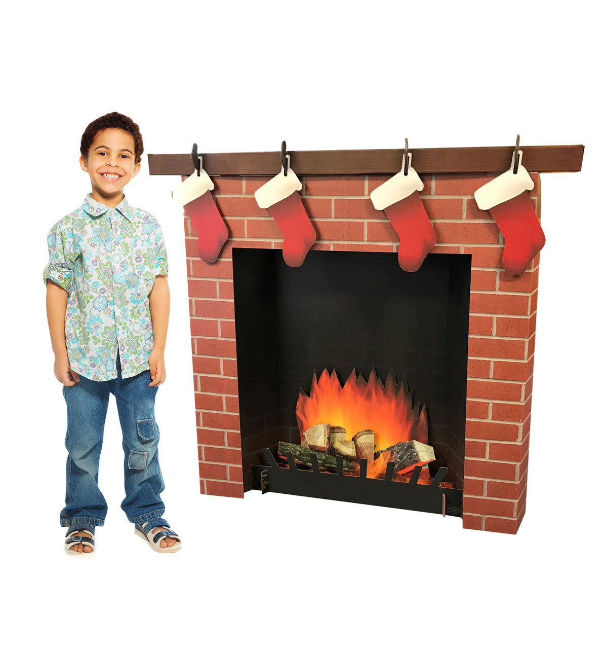 3D Brick Fireplace Life-Size Cardboard Cutout | Chirstmas Decor