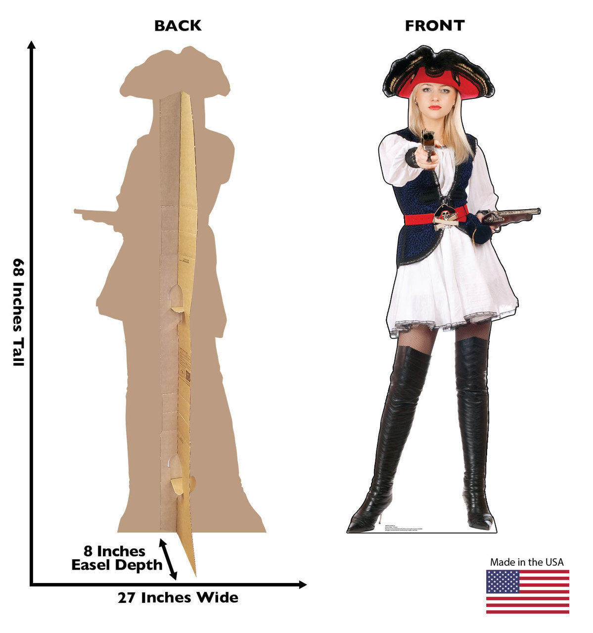 Front and back of standee with dimensions