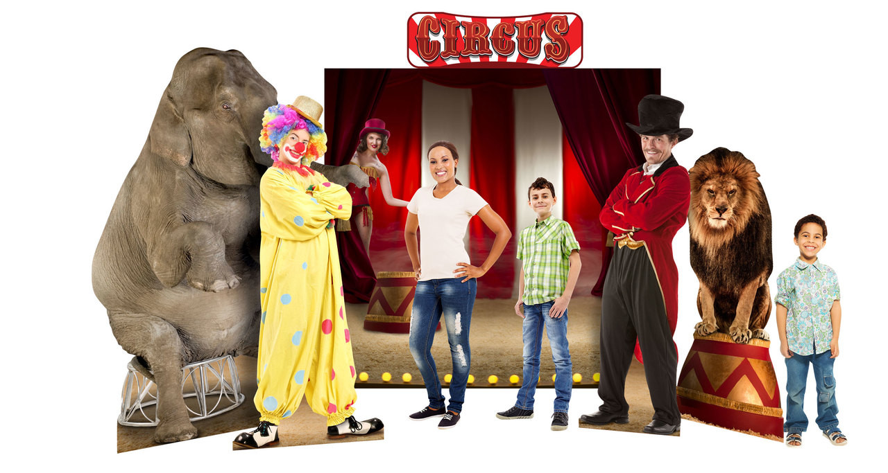 Circus Theme Background Set Showing Standees that are included with Models