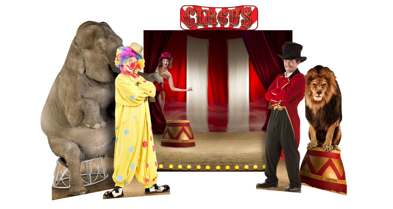 Circus Theme Background Set Showing Standees that are included.