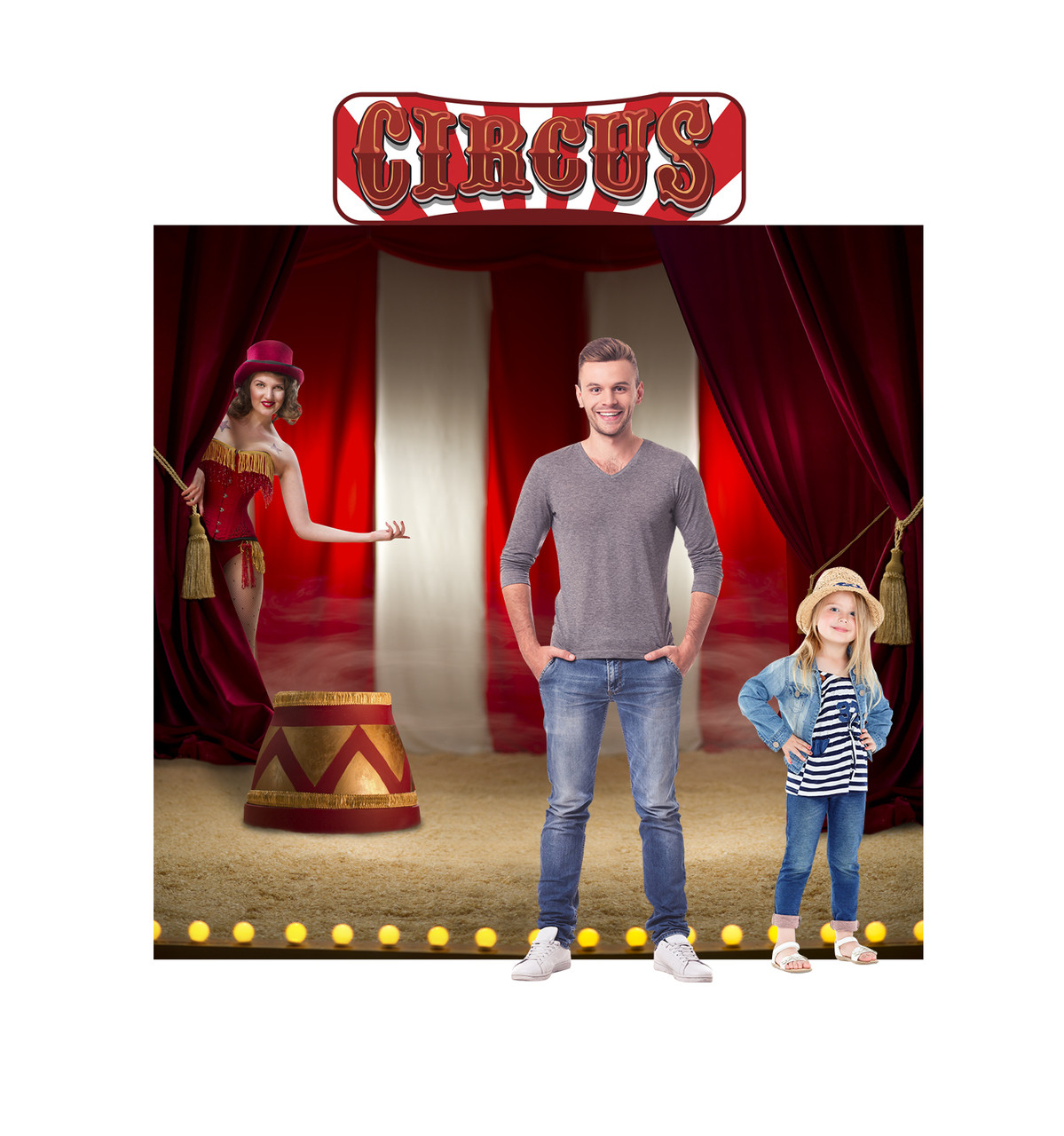 Front view of Circus Backdrop Double Wide with Header with Models.