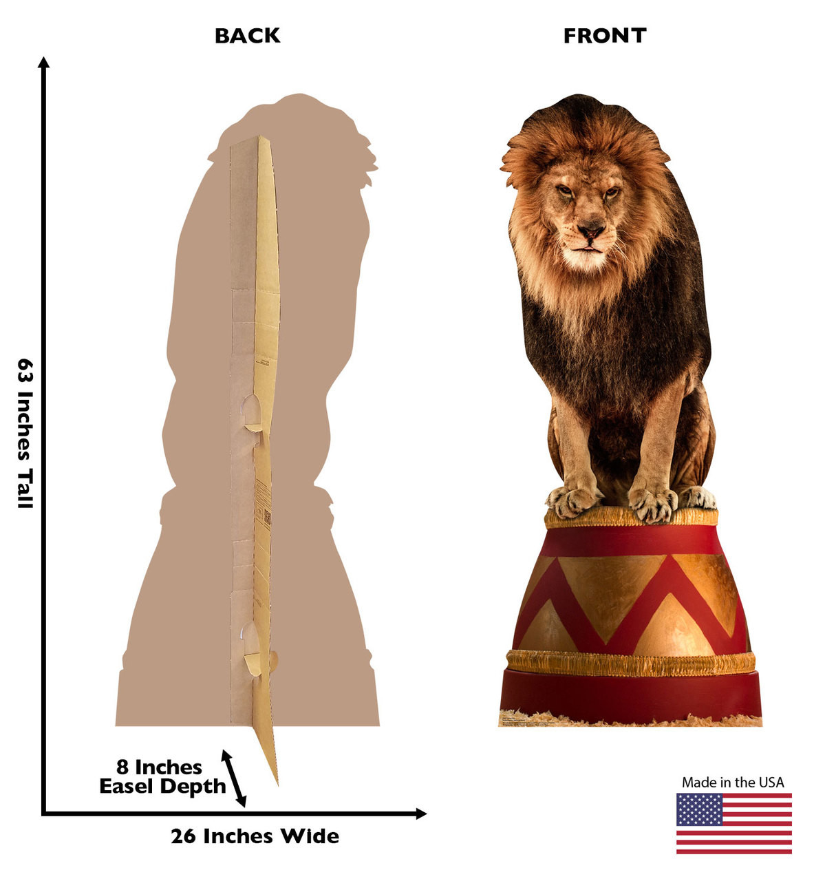 Front and back of standee showing dimensions.