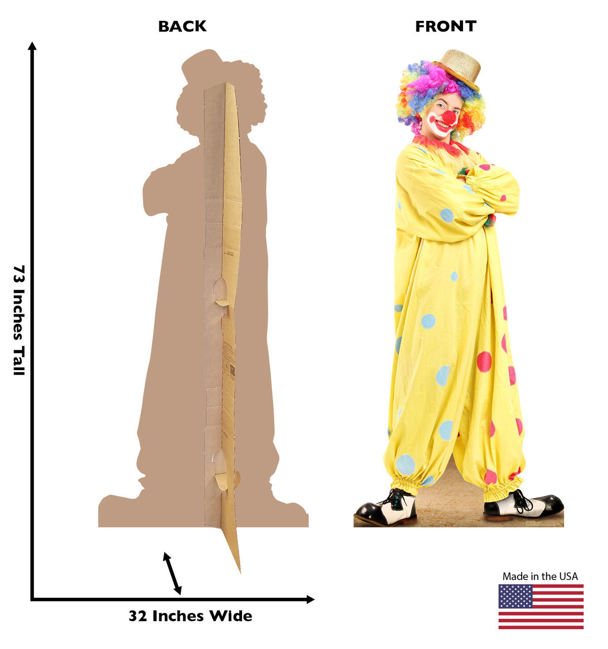 Standee front and back showing dimensions.