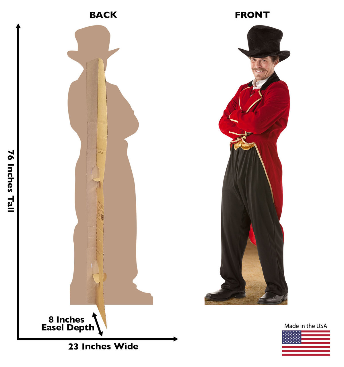 Standee showing front and back with dimensions.
