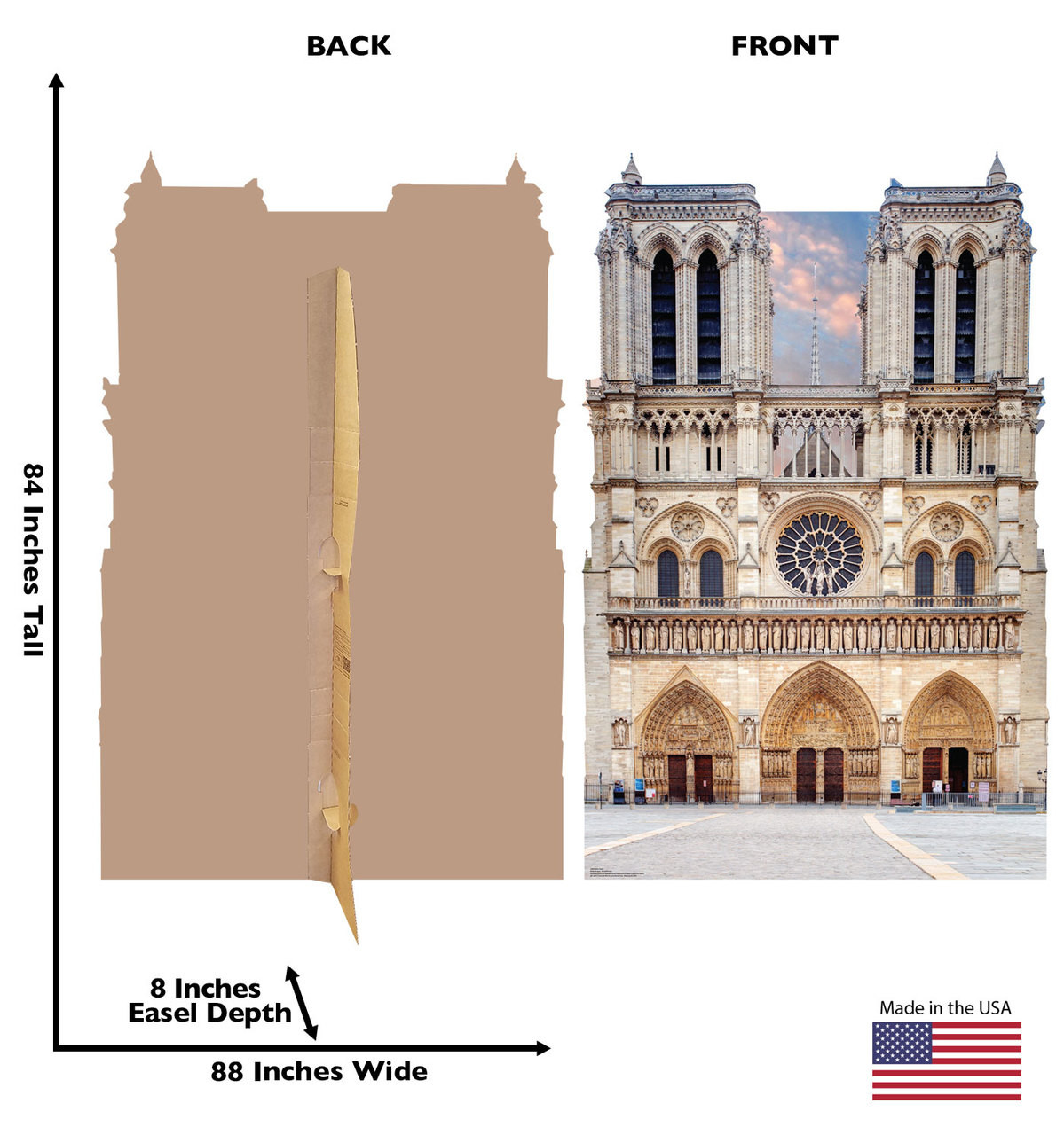 Notre Dame Standee showing front and back and dimensions.