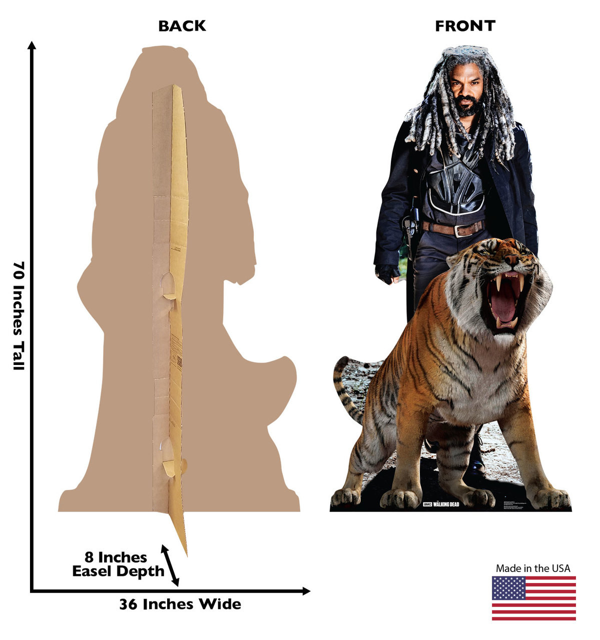 Ezekiel and Shiva Cardboard Cutout front and back view with dimensions
