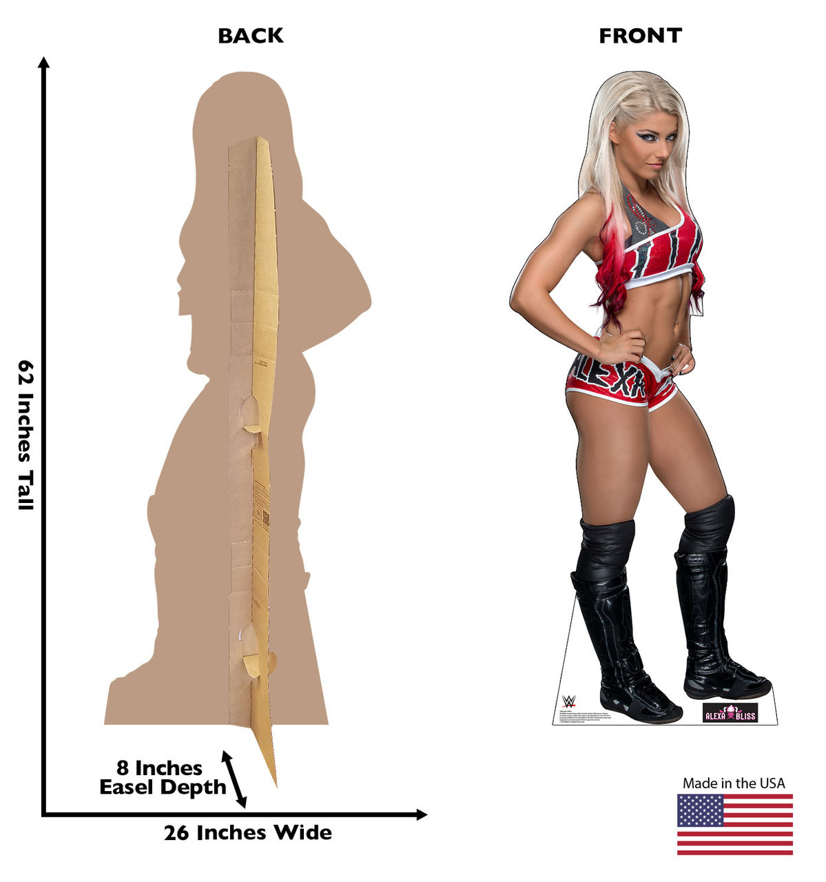 Alexa Bliss Cardboard Cutout Life-size cardboard standee front and back with dimensions