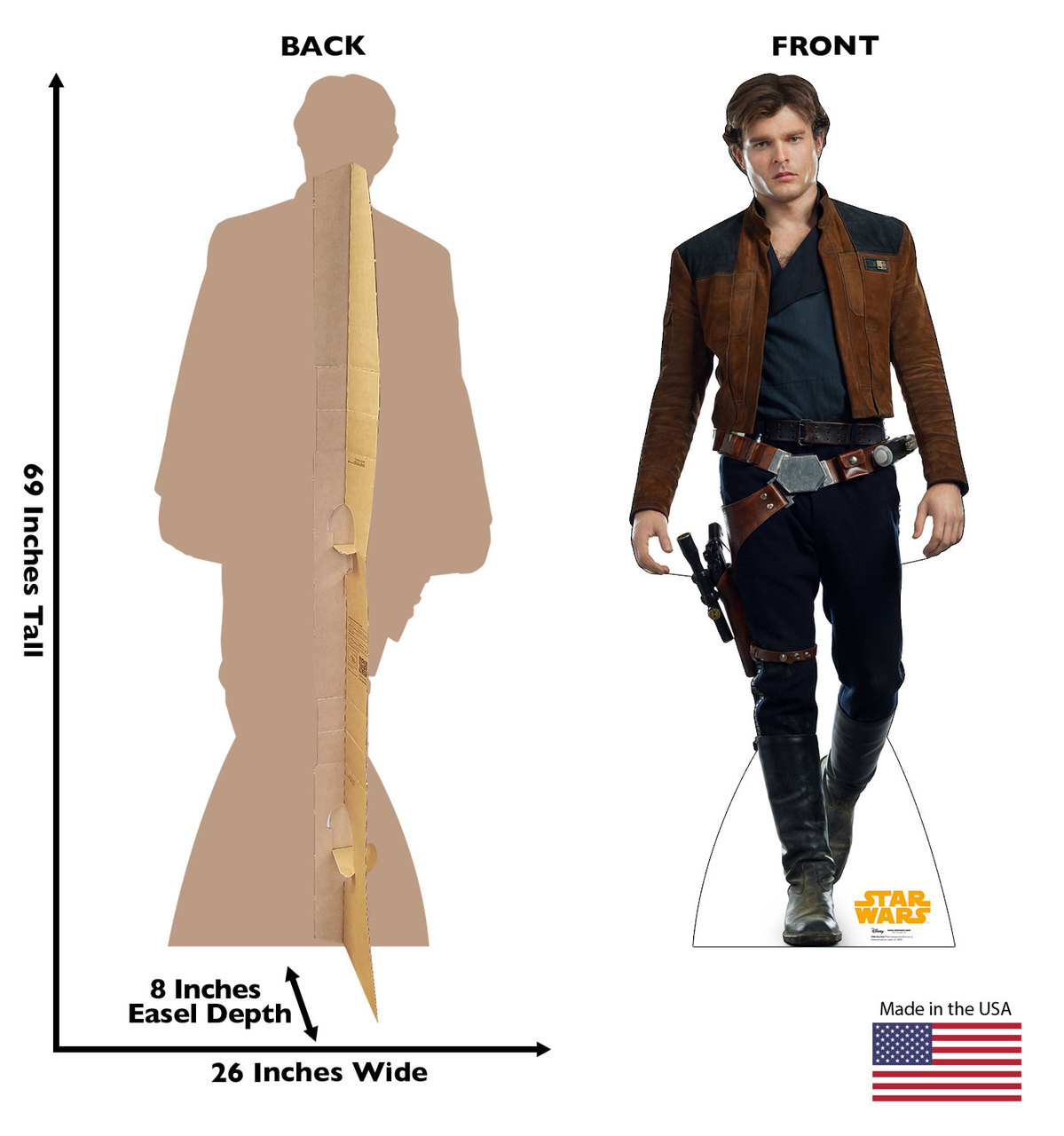 Han Solo™ Life-size cardboard standee back and front with dimensions.