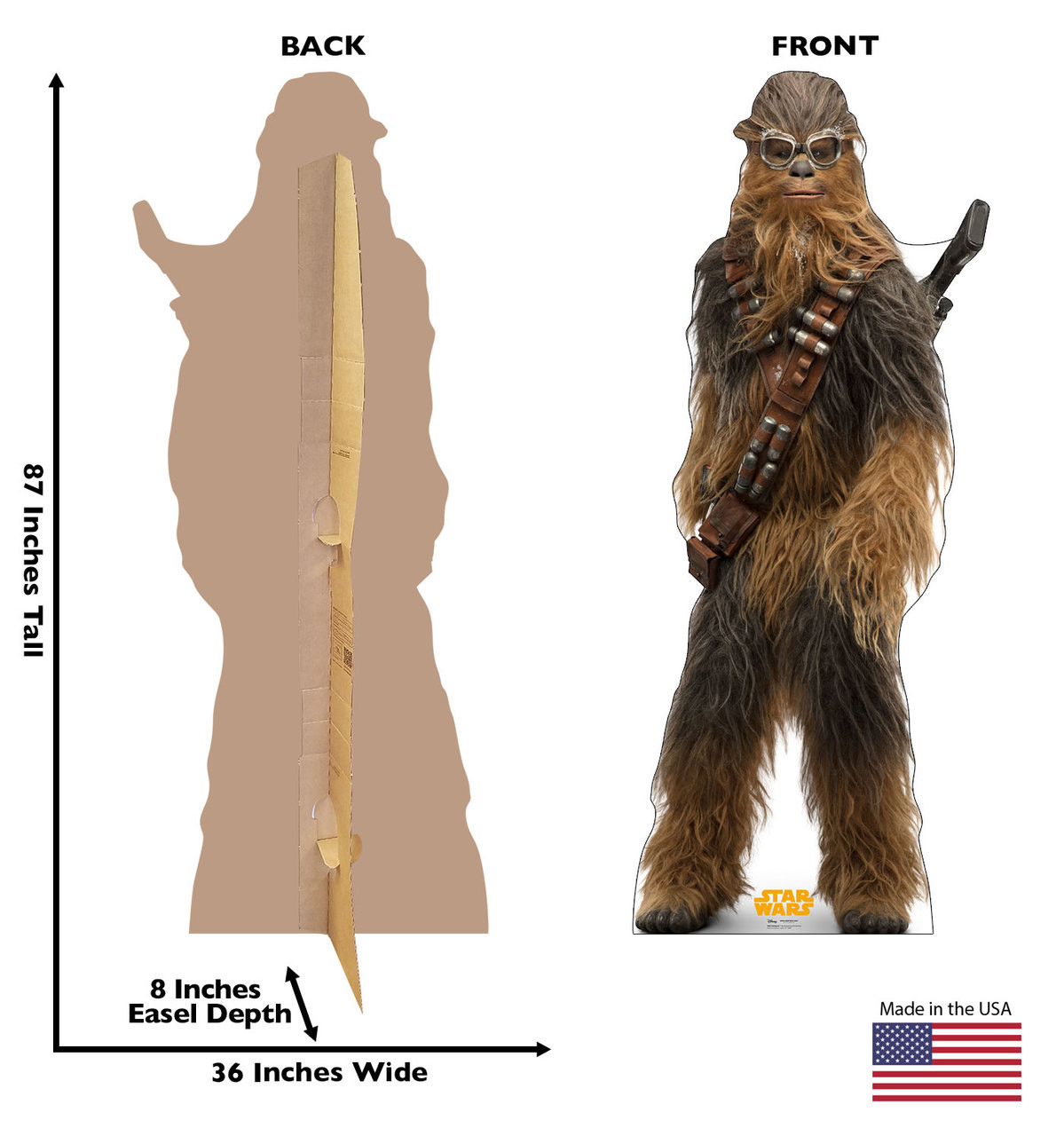Chewbacca™ Life-size cardboard standee back and front with dimensions.