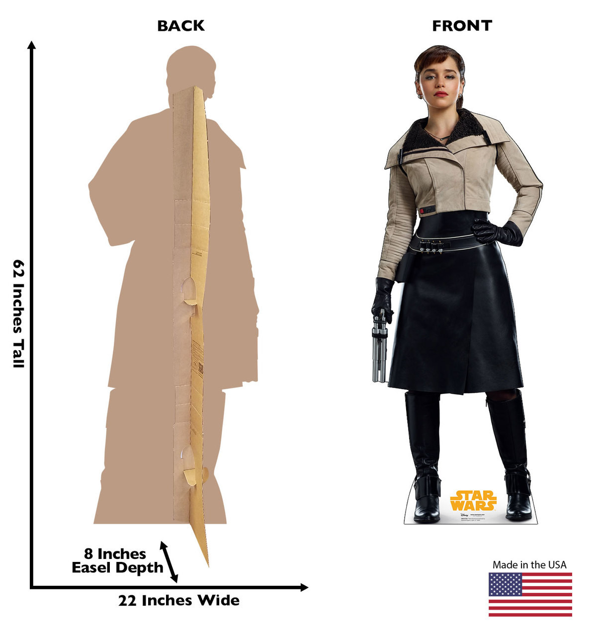 Ql'Ra™ Life-size cardboard standee back and front with dimensions.