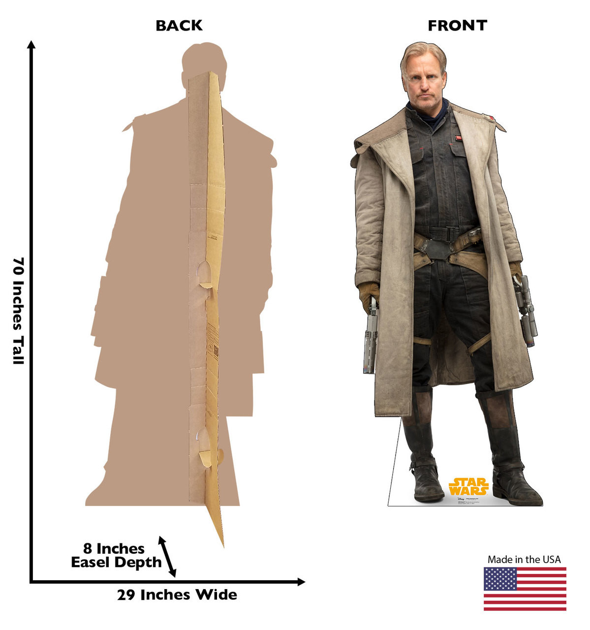 Beckett™ Life-size cardboard standee back and front with dimensions.