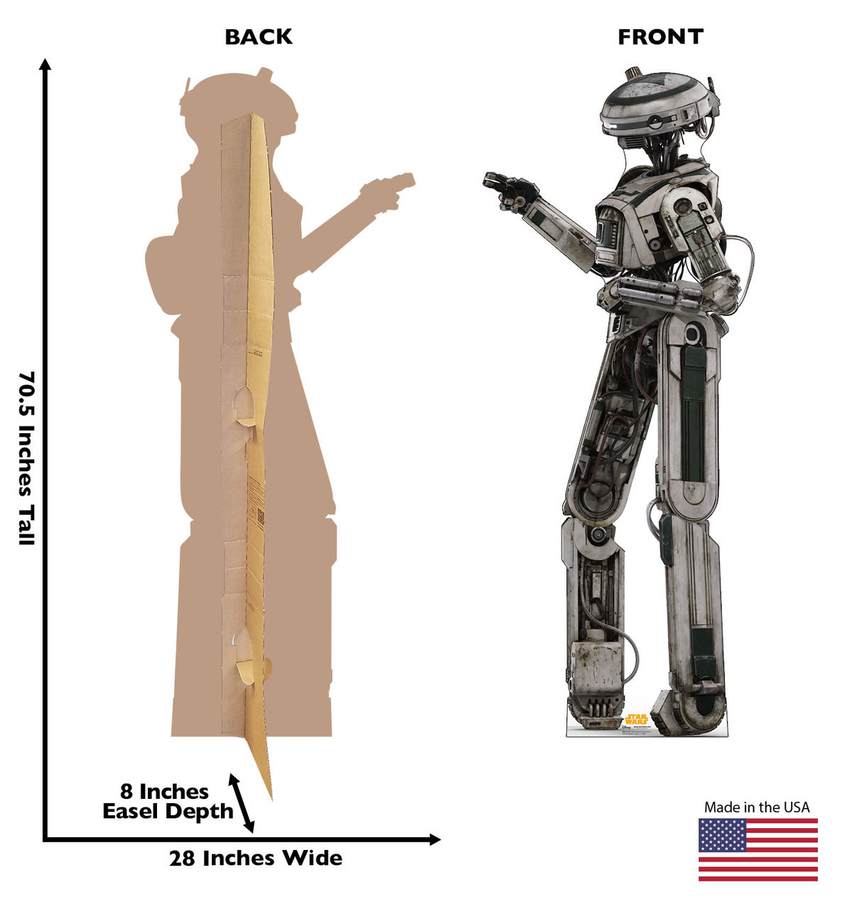 L3-37™ Life-size cardboard standee back and front with dimensions.