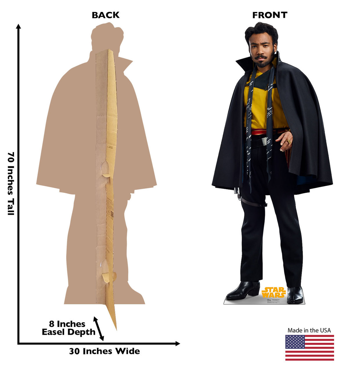 Lando™ Life-size cardboard standee back and front with dimensions.