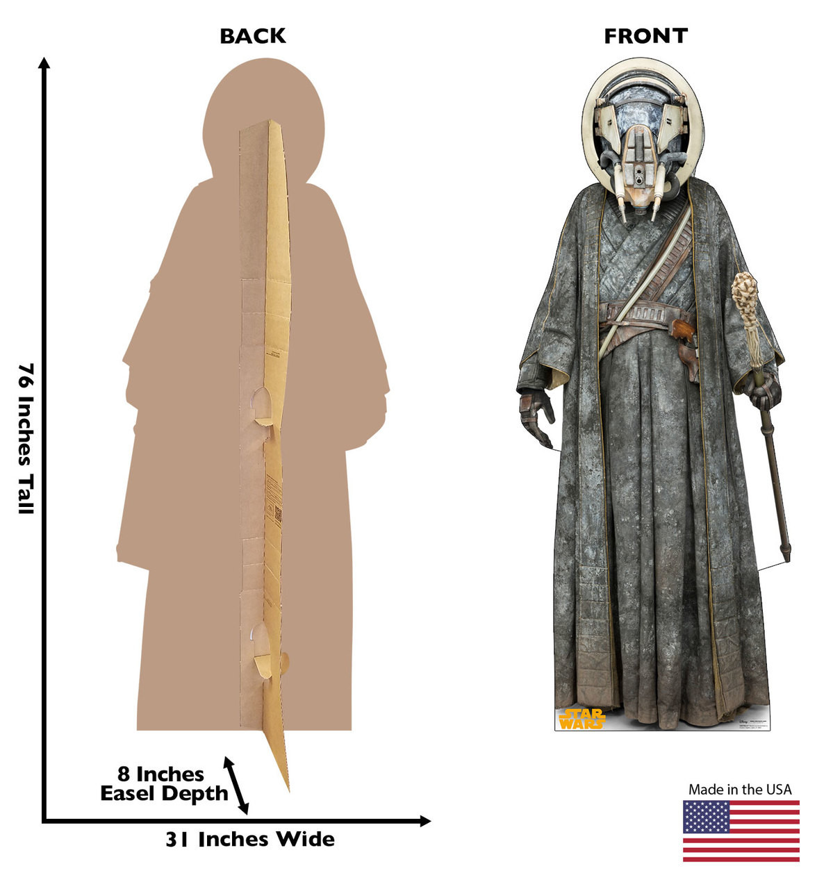 Moloch™ Life-size cardboard standee back and front with dimensions.