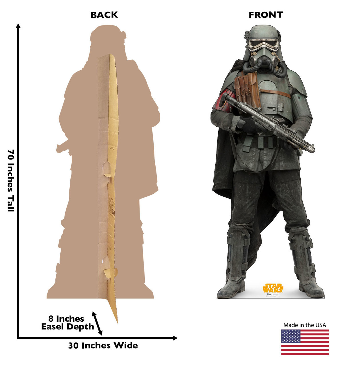 Mudtrooper™ Life-size cardboard standee back and front with dimensions.