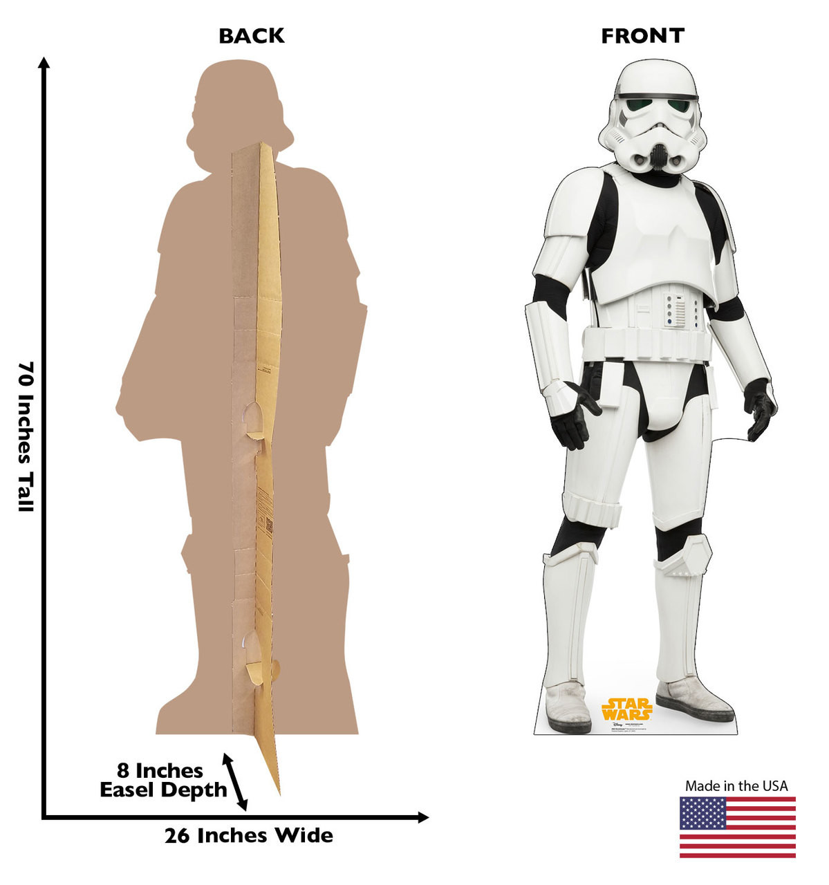 Stormtrooper™ Life-size cardboard standee back and front with dimensions.