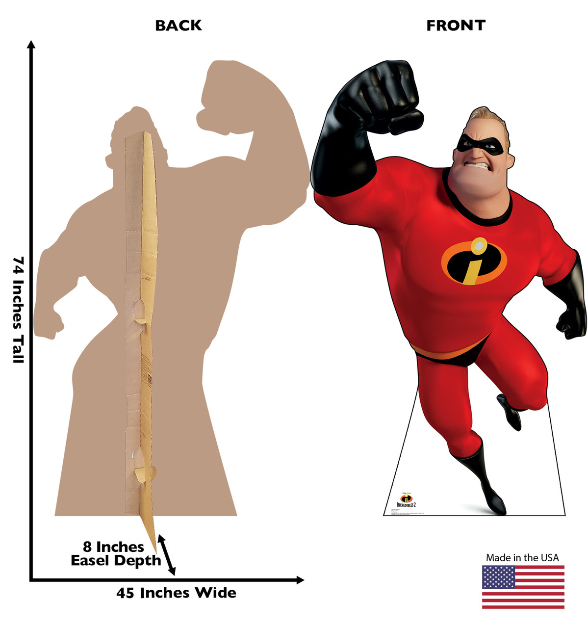 Mr. Incredible Life-size cardboard standee back and front with dimensions.