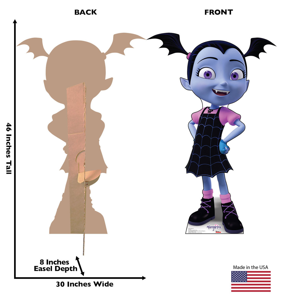 Vampirina Cardboard Cutout Life-size cardboard standee back and front with dimensions.