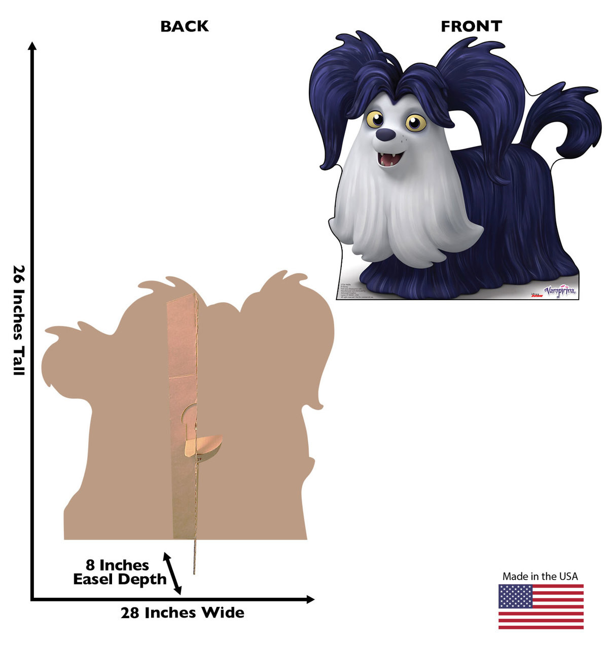 Wolfie Life-size cardboard standee back and front with dimensions.