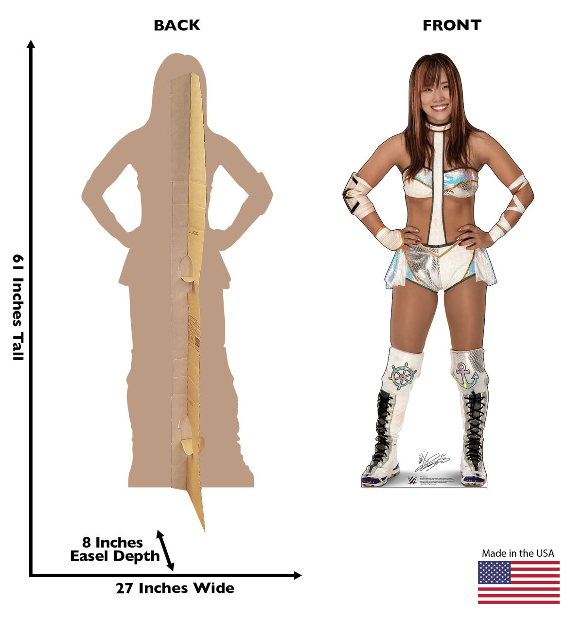 Kairi Sane Life-size cardboard standee front and back with dimensions.