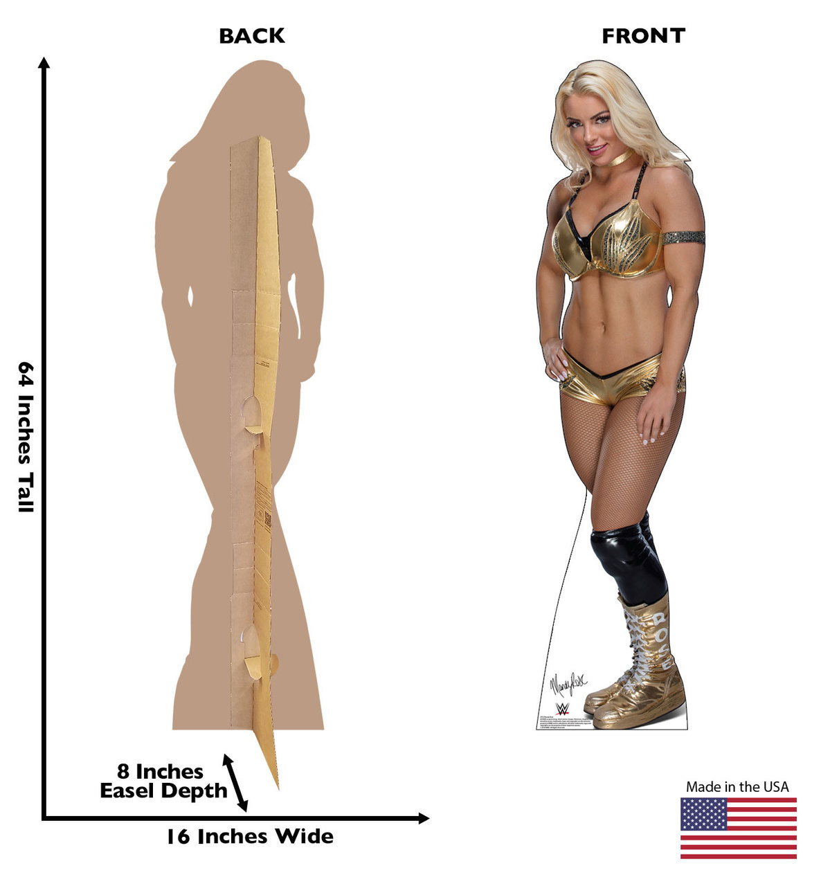 Mandy Rose Life-size cardboard standee front and back with dimensions.