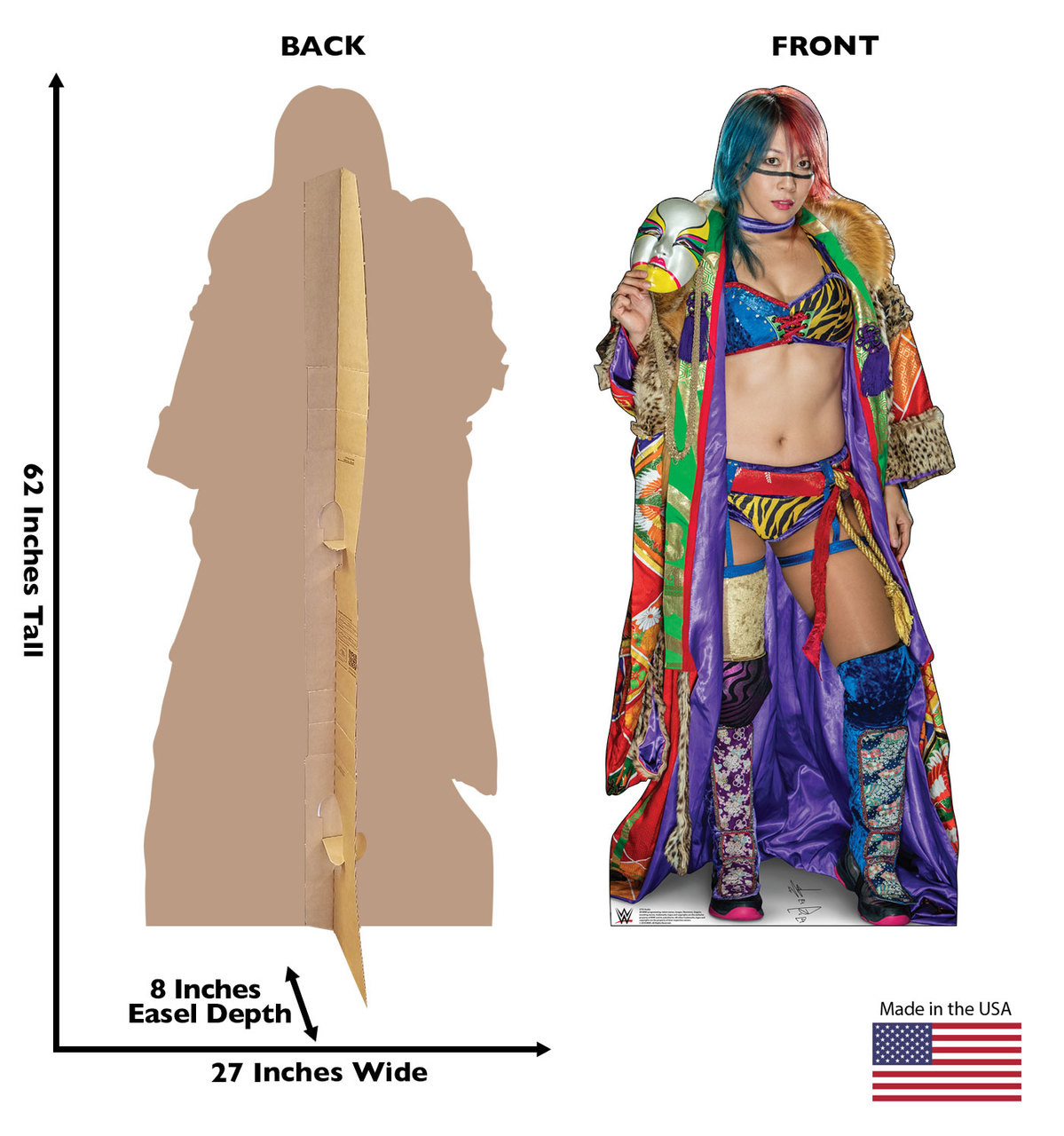 Asuka Life-size cardboard standee front and back with dimensions.