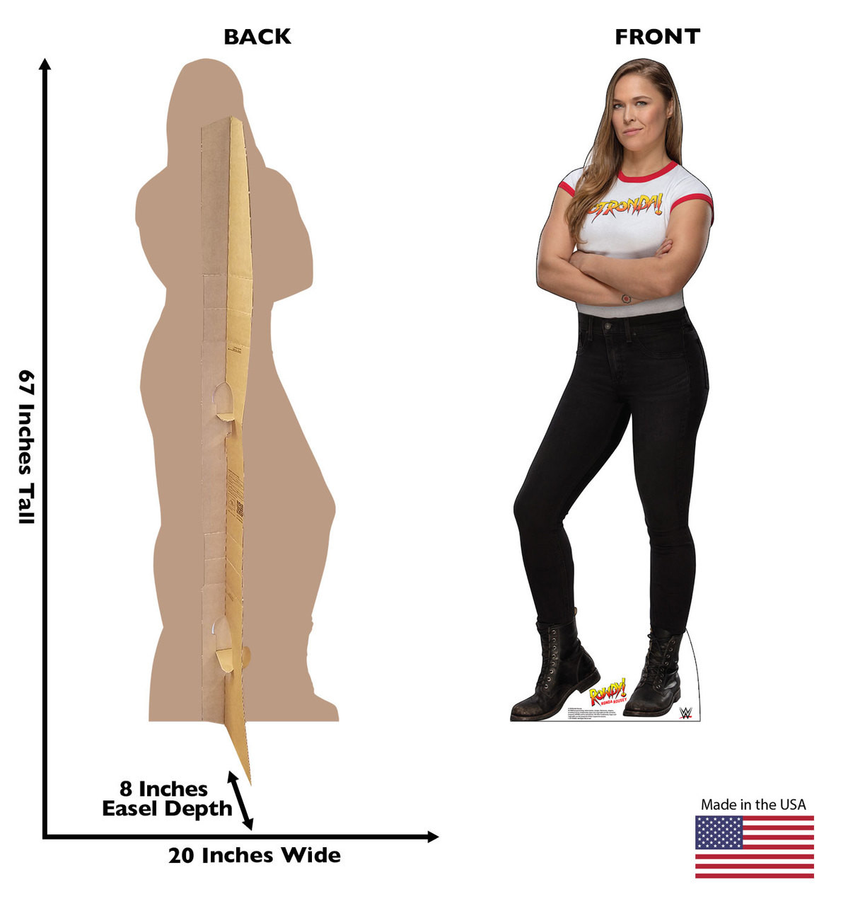 Ronda Rousey Life-size cardboard standee front and back with dimensions.