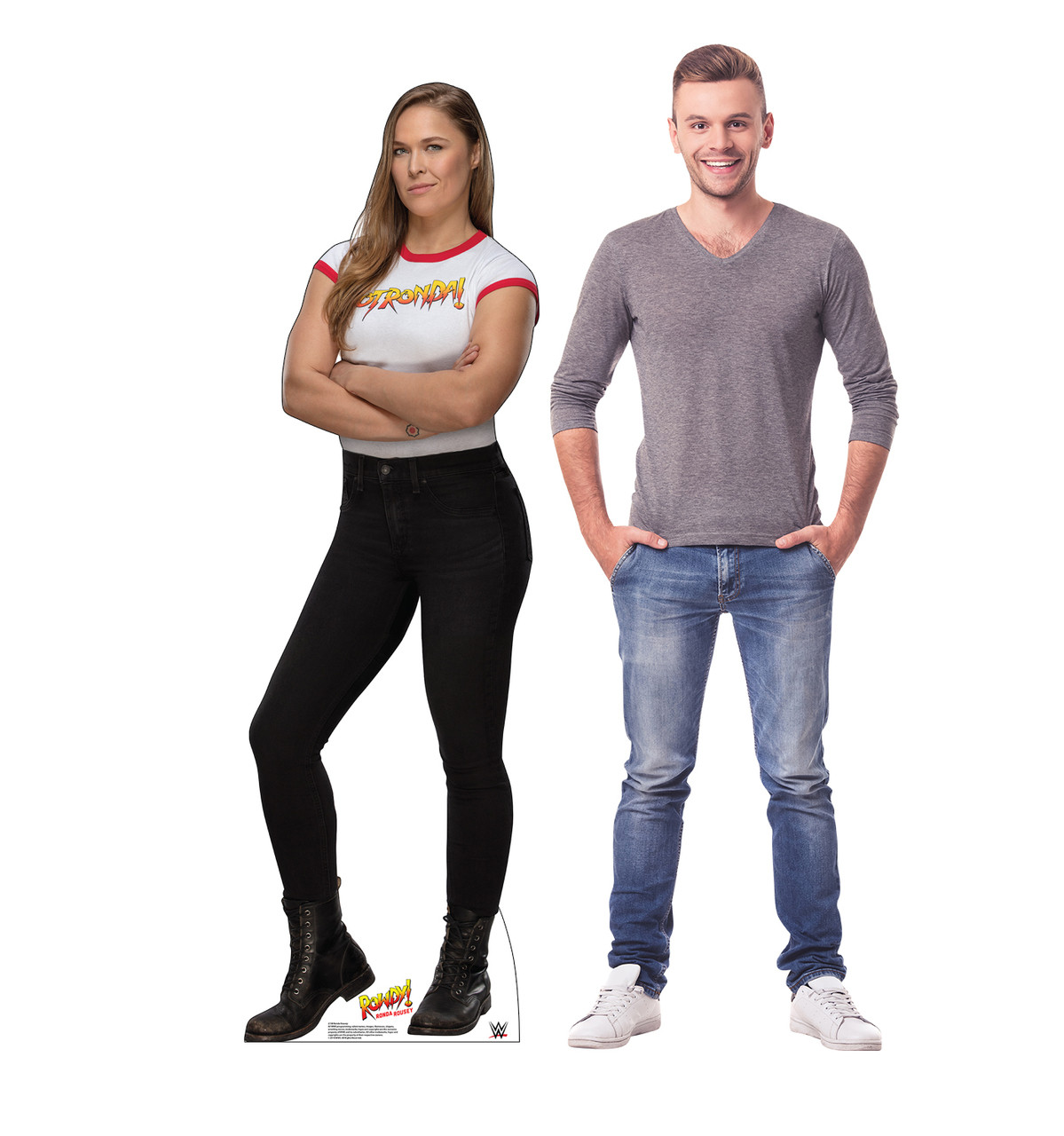 Ronda Rousey Life-size cardboard standee with model.