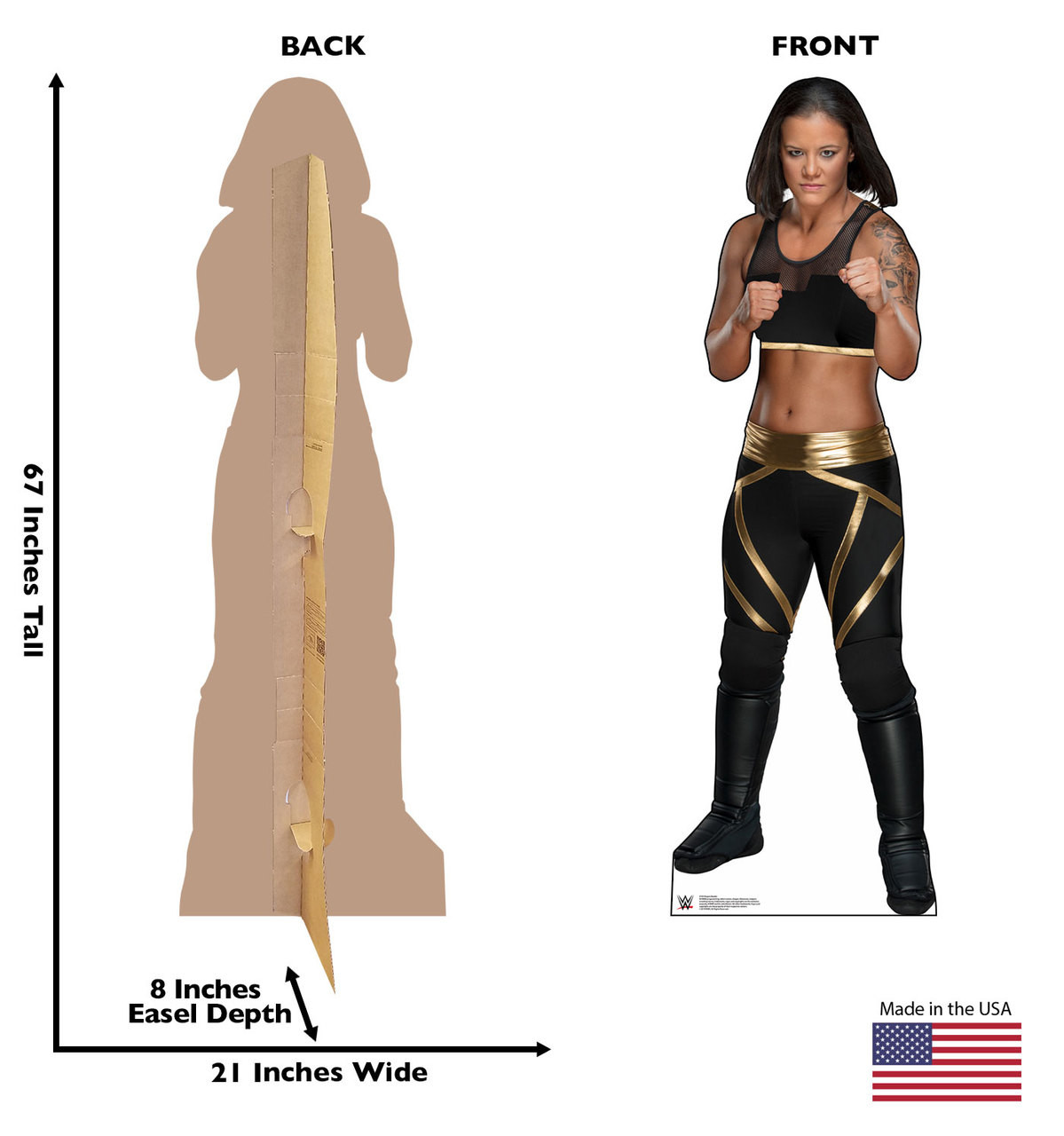 Shayna Baszier Life-size cardboard standee front and back with dimensions.