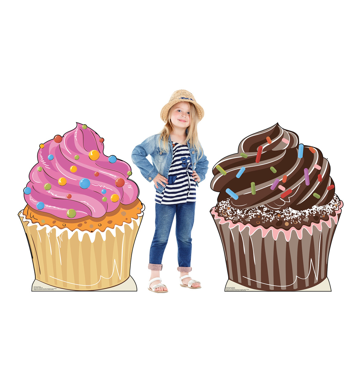 Life-size cardboard standee of Cupcakes with model.