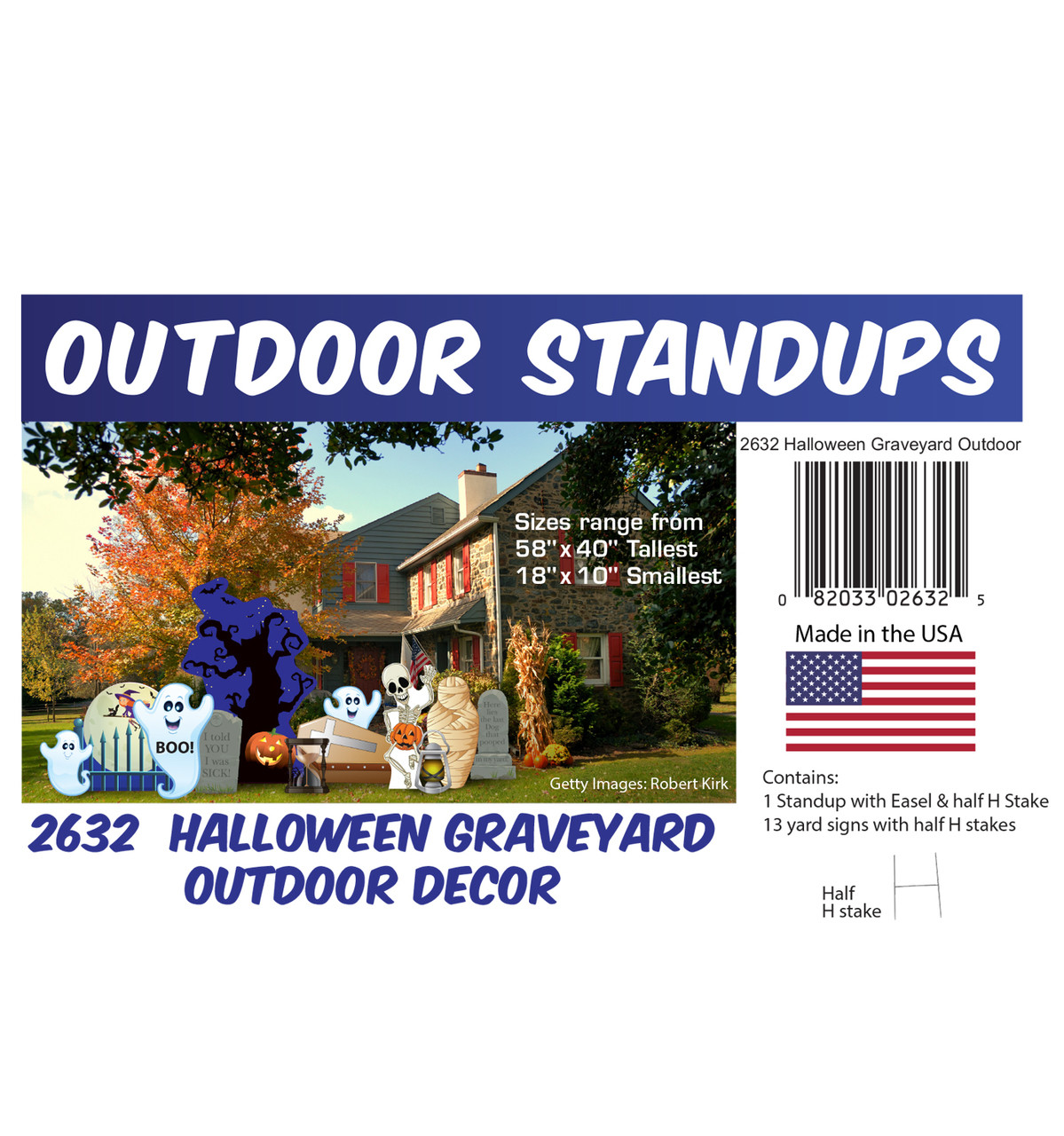 Halloween Graveyard Outdoor Decor with setting, dimensions and list of items included.