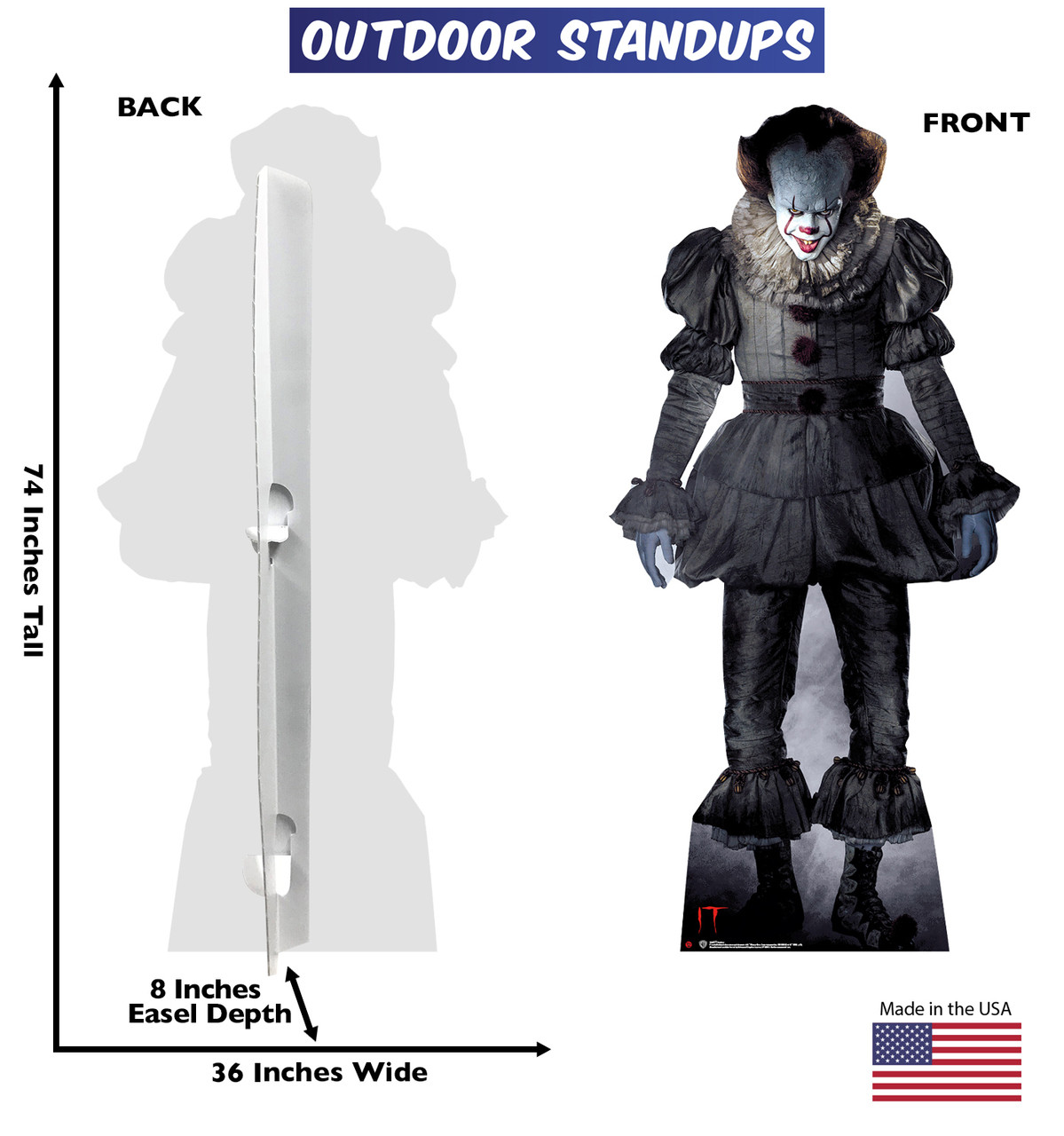 "Pennywise ""IT"" outdoor standee with back and front dimensions."