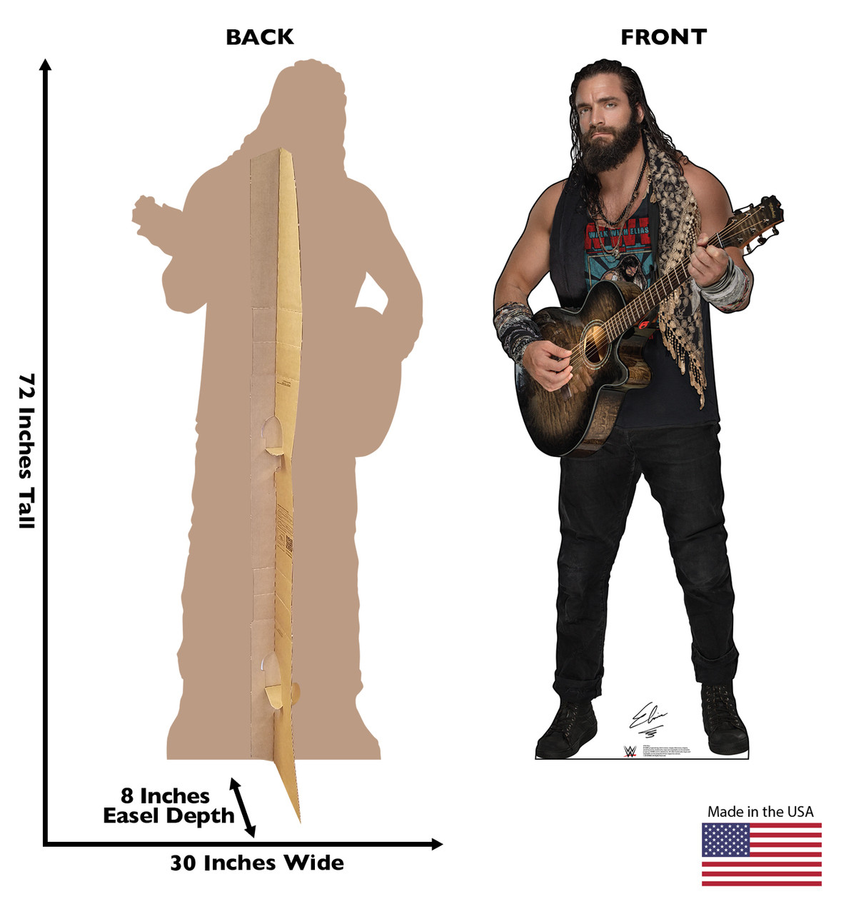 Eias Life-size cardboard standee front and back with dimensions.