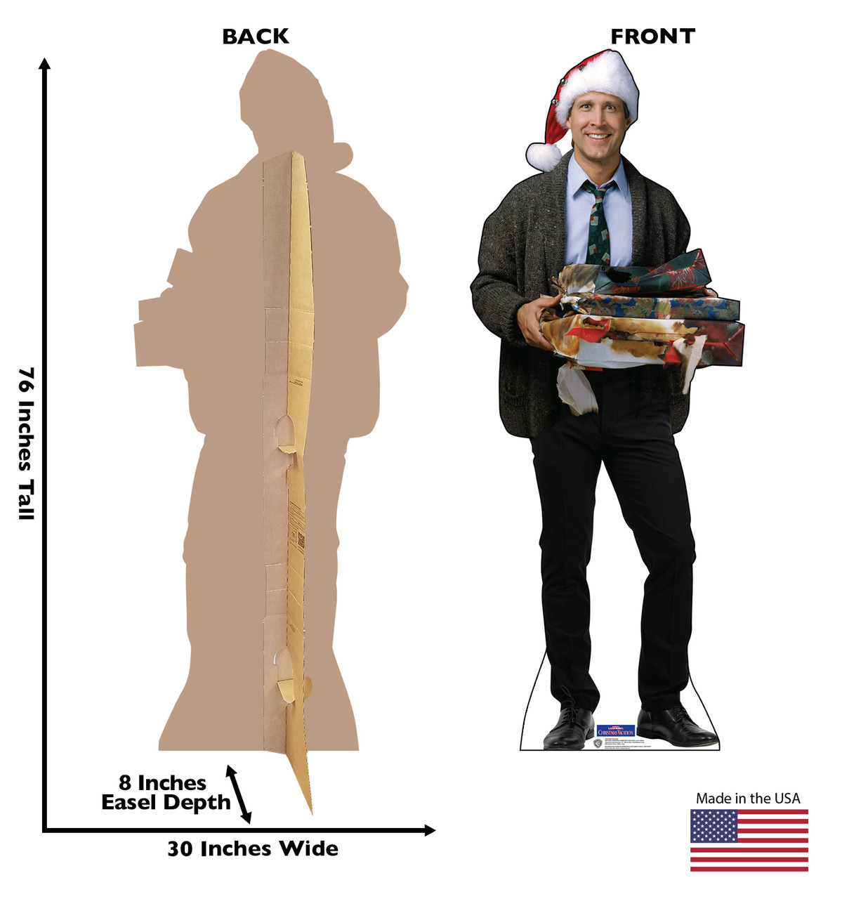 Clark Griswold cardboard standee with back and front dimensions.