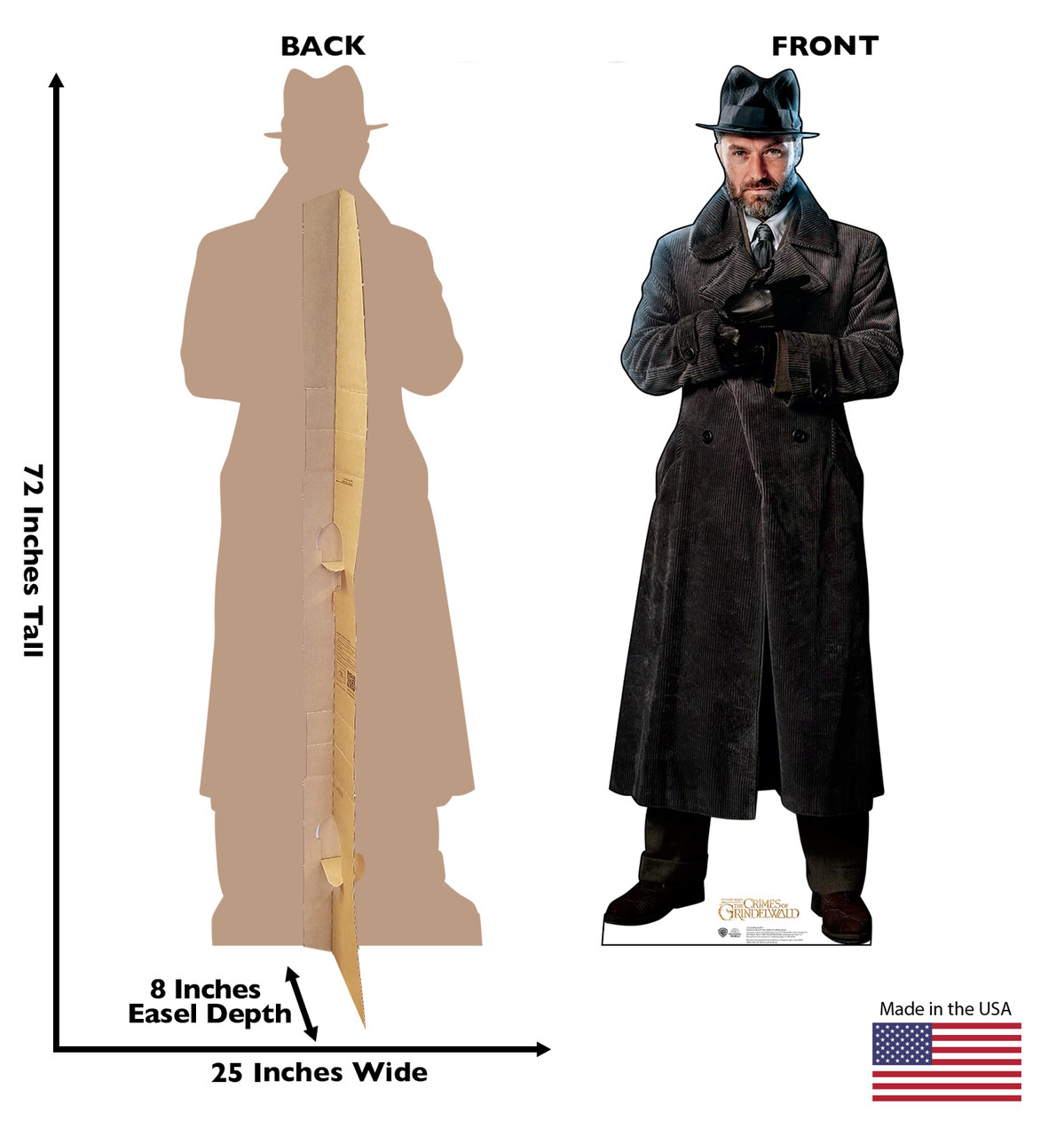 Dumbledore Lifes-size Cardboard Standee Front and Back with Dimensions.