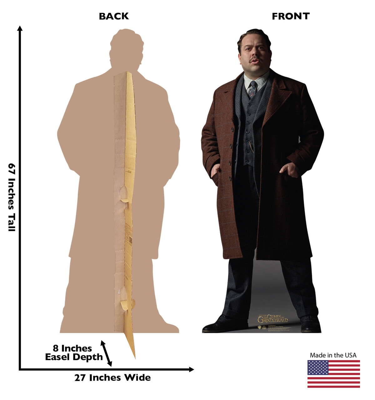 Jacob Kowalski Lifes-size Cardboard Standee Front and Back with Dimensions.
